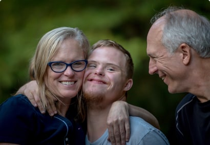 Parents with their disabled son