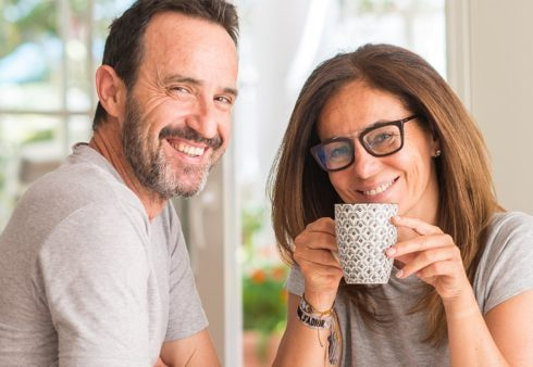 Parents with a cup of tea